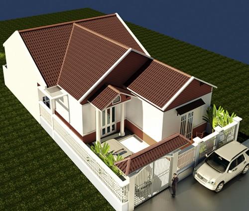 Phối cảnh 3D - MẫuThiết kế xây nhà cấp 4 mái thái 10,5x20m