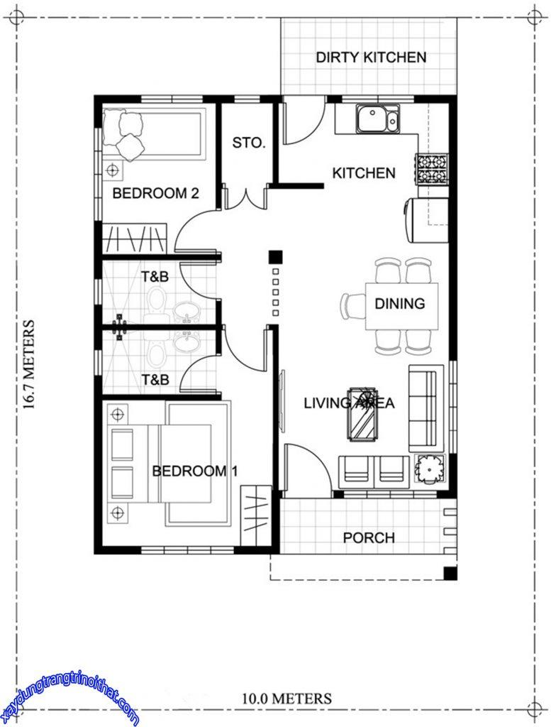 Mẫu Thiết Kế Nhà Cấp 4 Nhỏ 2 Phòng Ngủ