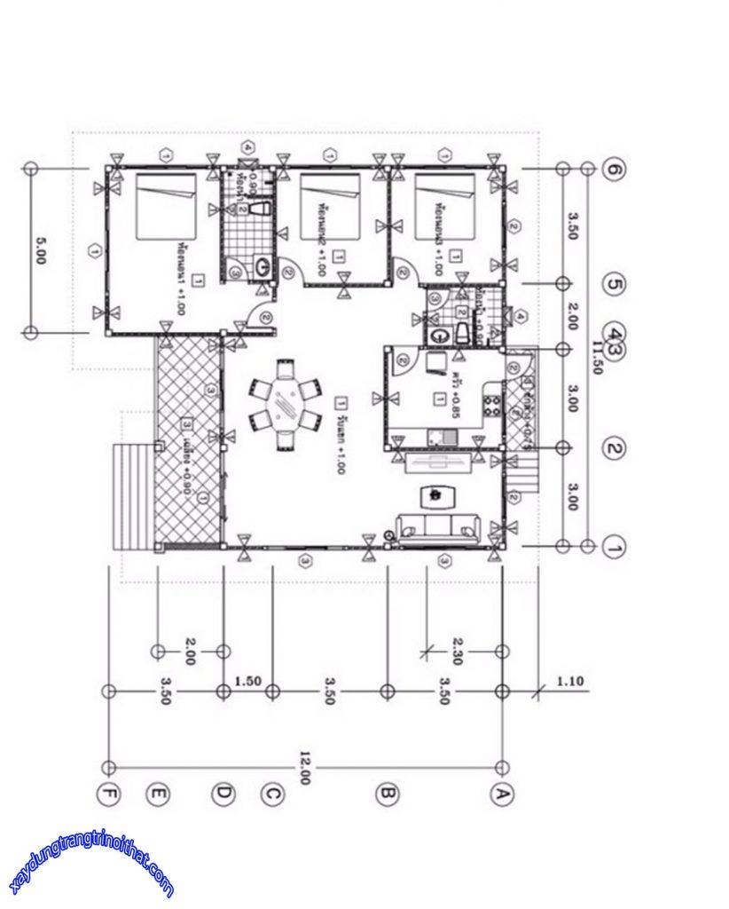 Mẫu Nhà Cấp 4 Mái Thái 3 Phòng Ngủ 2 Phòng Tắm 140m²