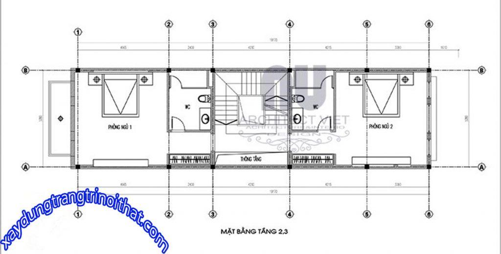 Mẫu Nhà Ống 4 Tầng Với Diện Tích 5x20m