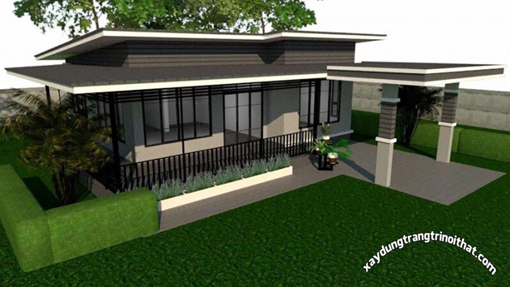 Mẫu Nhà Cấp 4 Mái Bằng 2 Phòng Ngủ Phong Cách Hiện Đại
