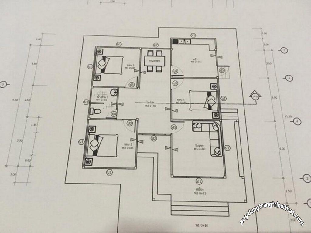 Mẫu Nhà Cấp 4 Diện Tích 80m² 3 Phòng Ngủ 1 Phòng Tắm