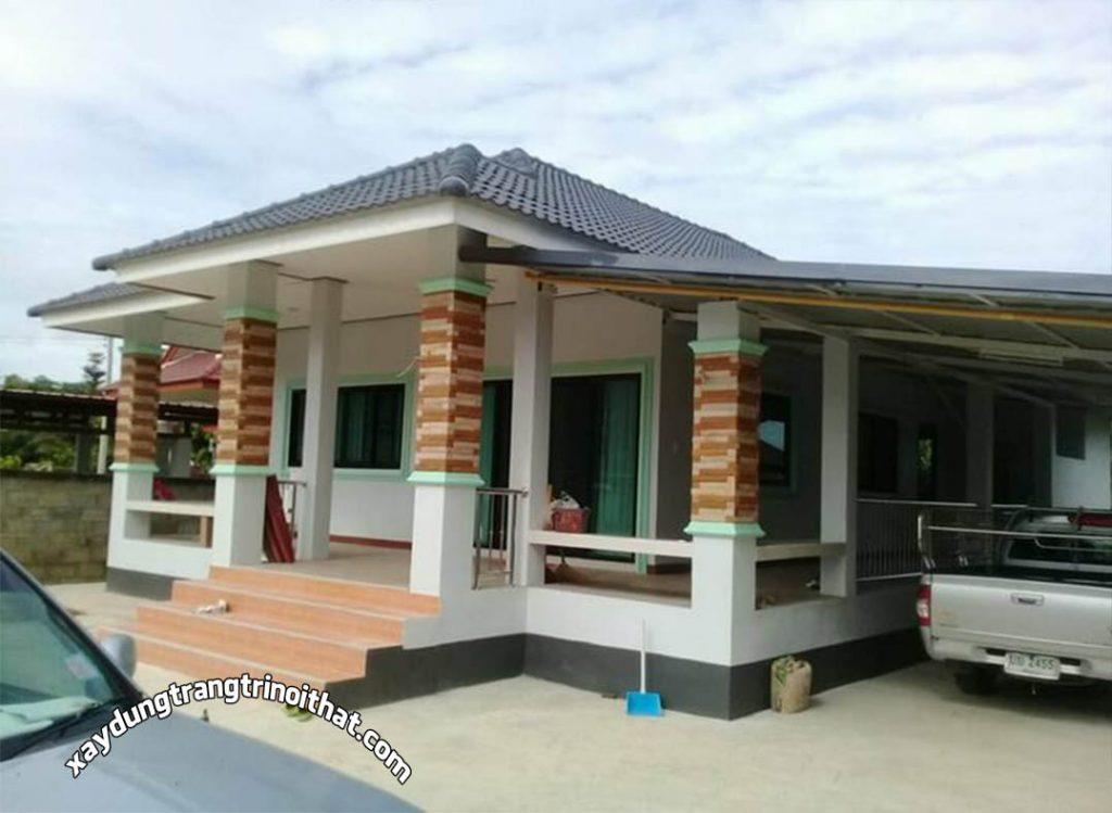 Mẫu Nhà Cấp 4 Mái Thái 2 Phòng Ngủ 2 Phòng Tắm Diện Tích 140m²