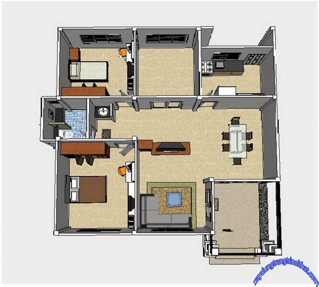 Mẫu Nhà Cấp 4 Mái Thái 2 Phòng Ngủ 1 Phòng Tắm Thiết Kế Hiện Đại