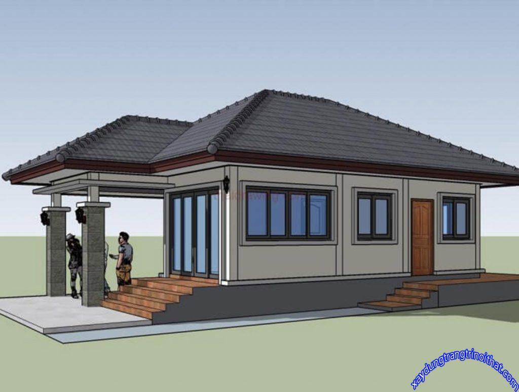 Mẫu Nhà Cấp 4 Nhỏ 60m² 1 Phòng Ngủ